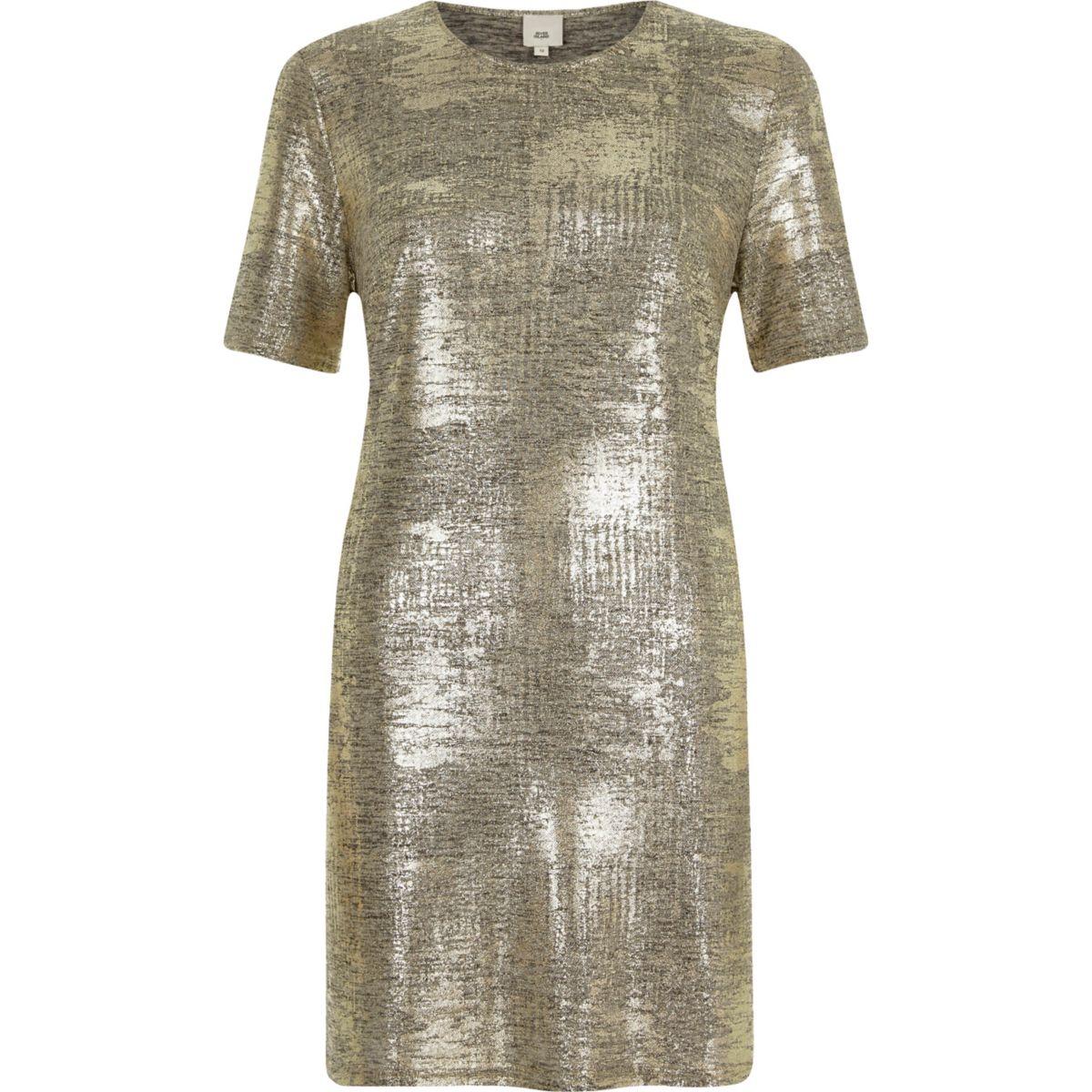 Gold metallic T-shirt dress