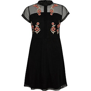 Black embroidered high neck mesh dress