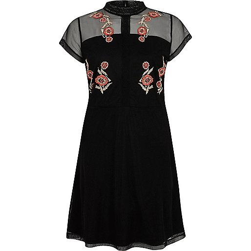 Black embroidered high neck mesh dress