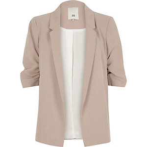 Light beige popper side blazer