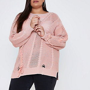 Plus pink ladder knitted tie detail jumper
