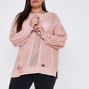 RI Plus - Roze gebreide pullover met laddereffect en strikken