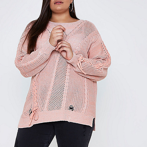 Plus pink ladder knitted tie detail sweater