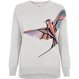 Pull en maille gris clair motif oiseau