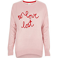 Pink knit 'no love lost' slogan jumper