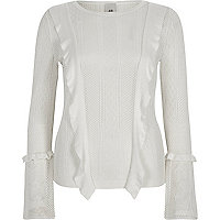 White long sleeve lace knitted top