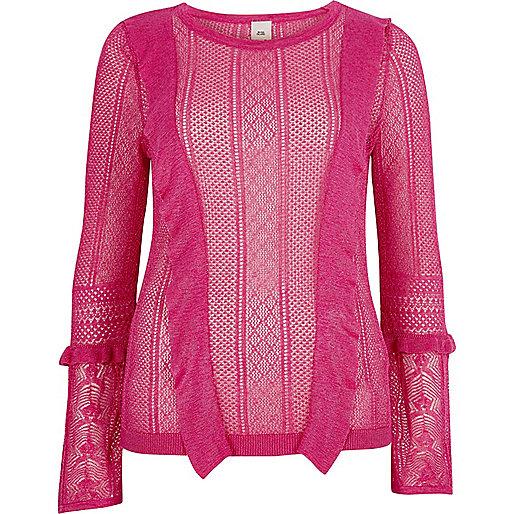 Pink open knit frill detail jumper
