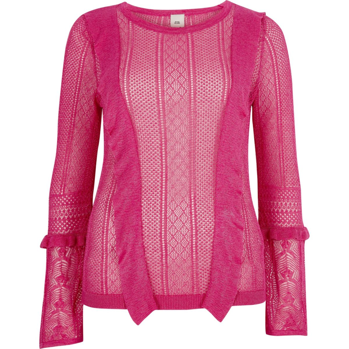 Pink open knit frill detail sweater