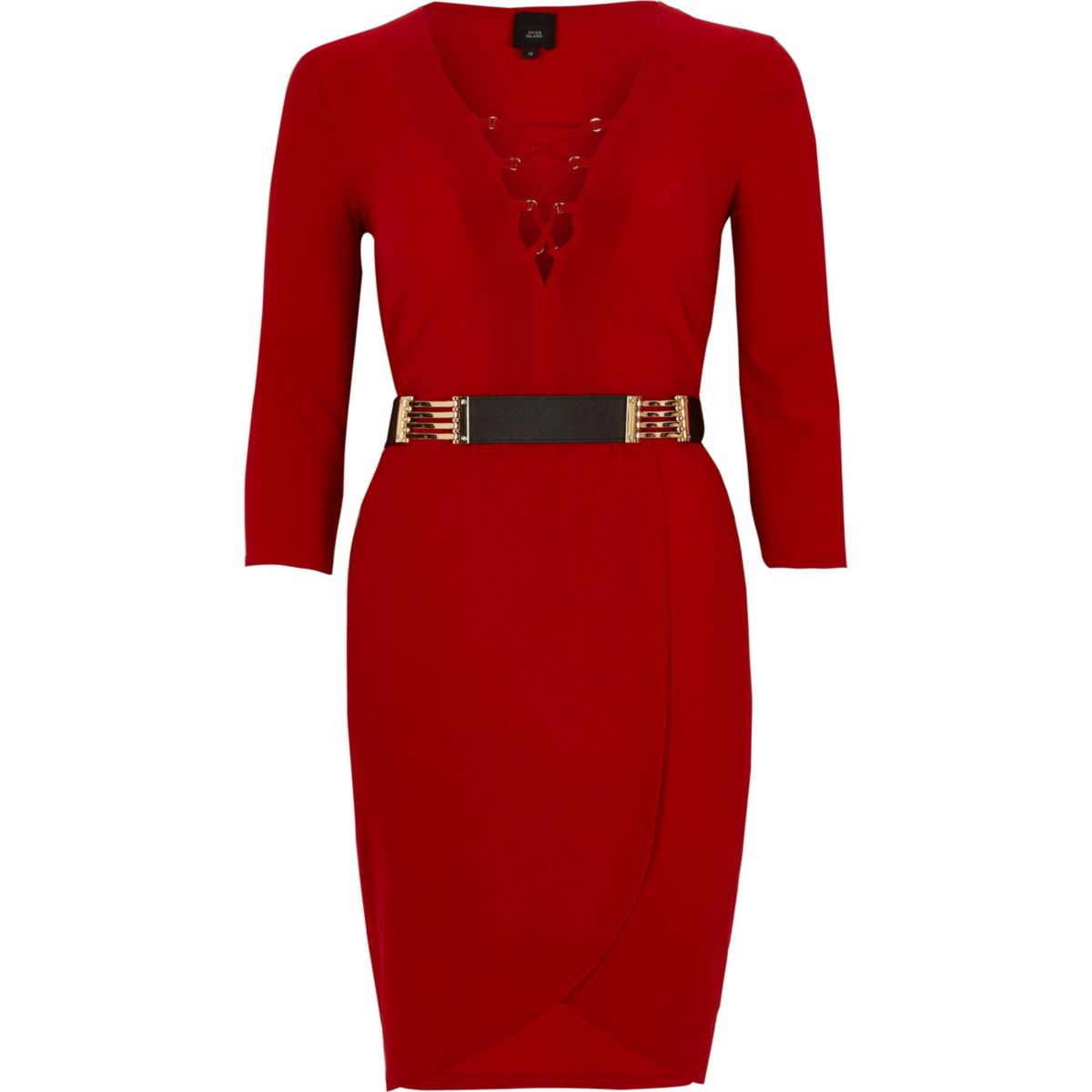 Red lace-up front belted bodycon dress