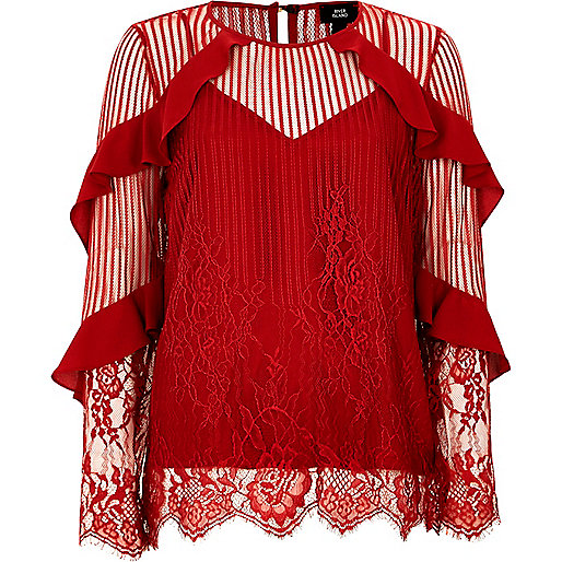 Red lace frill sleeve top