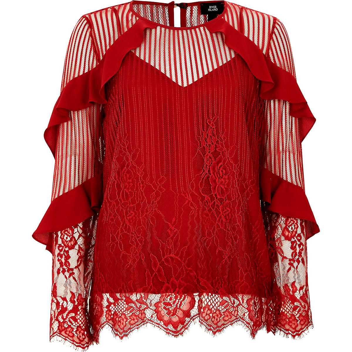 Red lace frill sleeve top - Tops - Sale - women