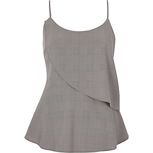 Grey check asymmetric frill layer cami top