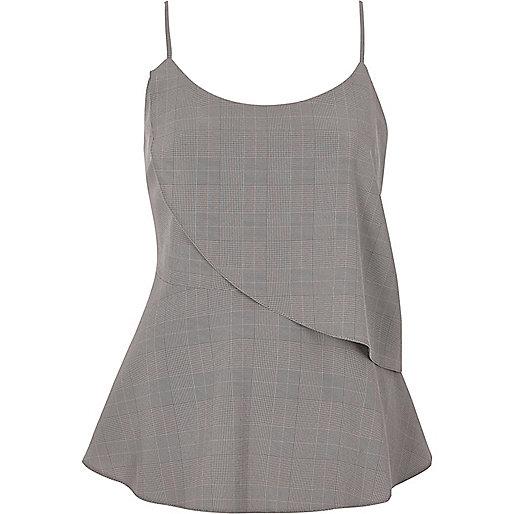 Grey check asymmetric frill layer cami top