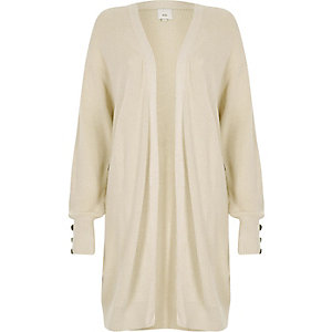 Stone knit longline button side cardigan