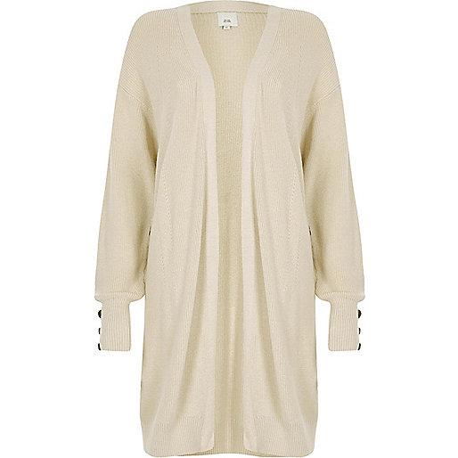Stone knit longline button side cardigan