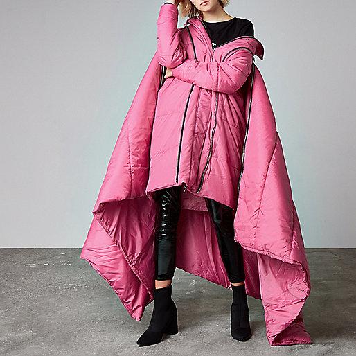 Pink Ashish puffer sleeping bag coat