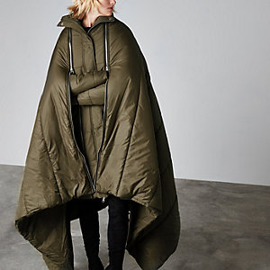 Khaki Ashish sleeping bag puffer coat