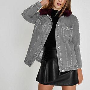 Veste en jean grise avec col oversize en fausse fourrure
