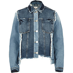 Veste en jean oversize bleu moyen retravaillée