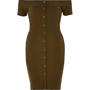 Bardot-Kleid in Khaki mit Druckknöpfen