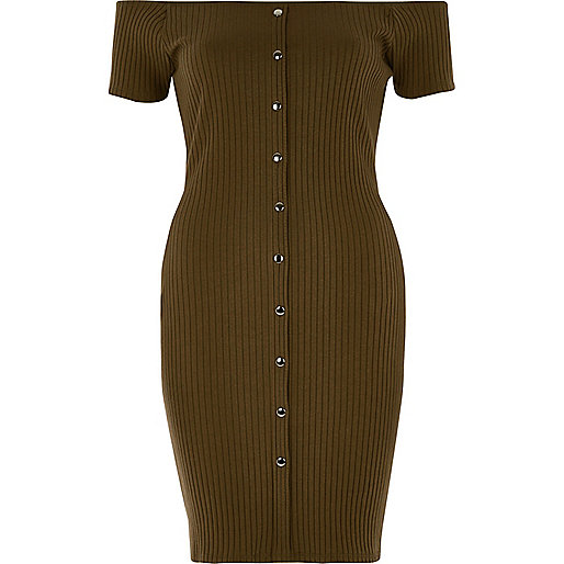 Khaki green popper front bardot dress
