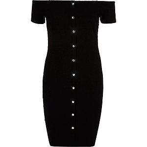 Schwarzes Bodycon-Kleid mit Druckknöpfen