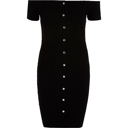 Black bardot popper front bodycon dress