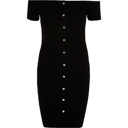 Robe moulante Bardot noire à boutons pression