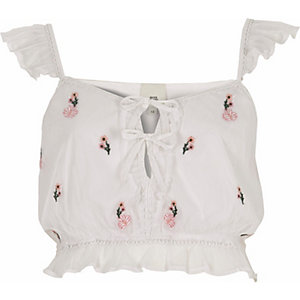 White floral embroidered frill crop top