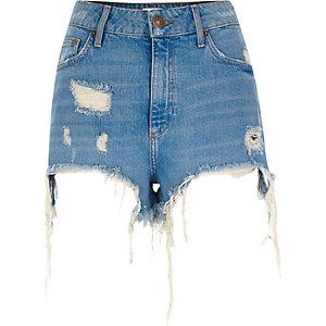 Short en jean bleu déchiré taille haute
