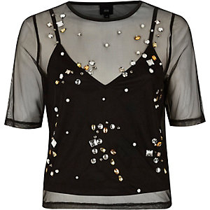 Black mesh gem embellished T-shirt