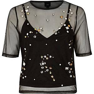 Zwart versierd T-shirt met mesh