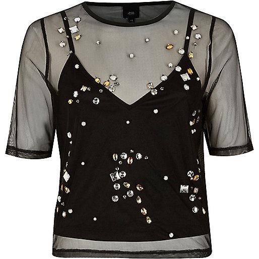 Black mesh gem embellished T-shirt
