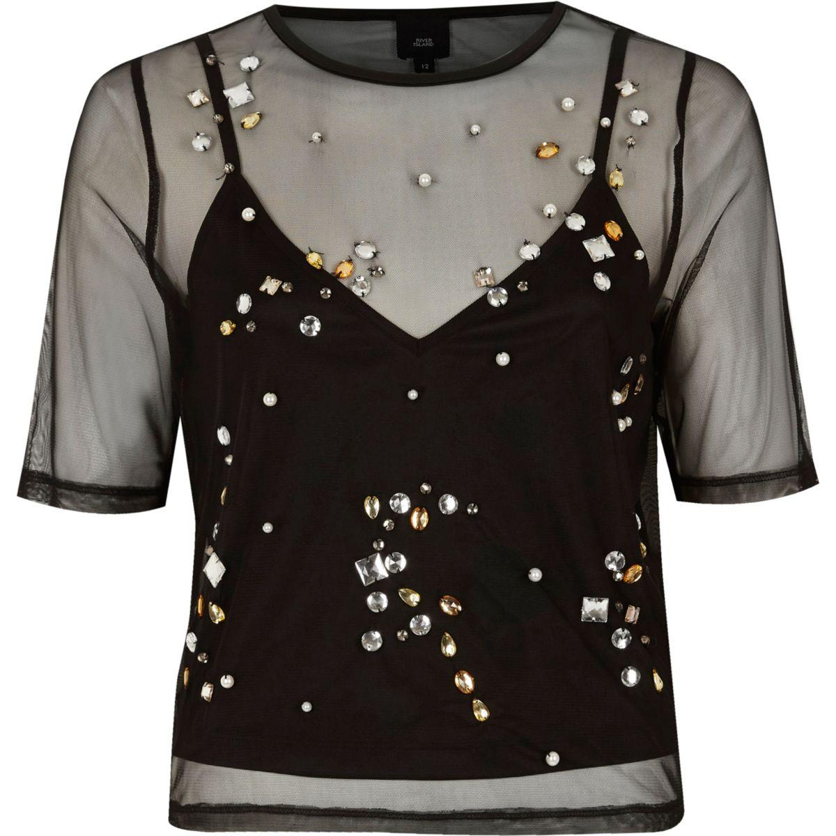Verziertes T-Shirt aus schwarzem Netzstoff