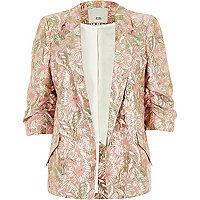 Pinker Blazer mit Blumenmuster und Rüschen