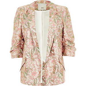 Pink floral jacquard ruched sleeve blazer