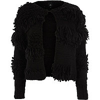 Black shaggy knit cardigan