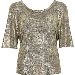 Metallic gouden folie T-shirt met overslag op de rug