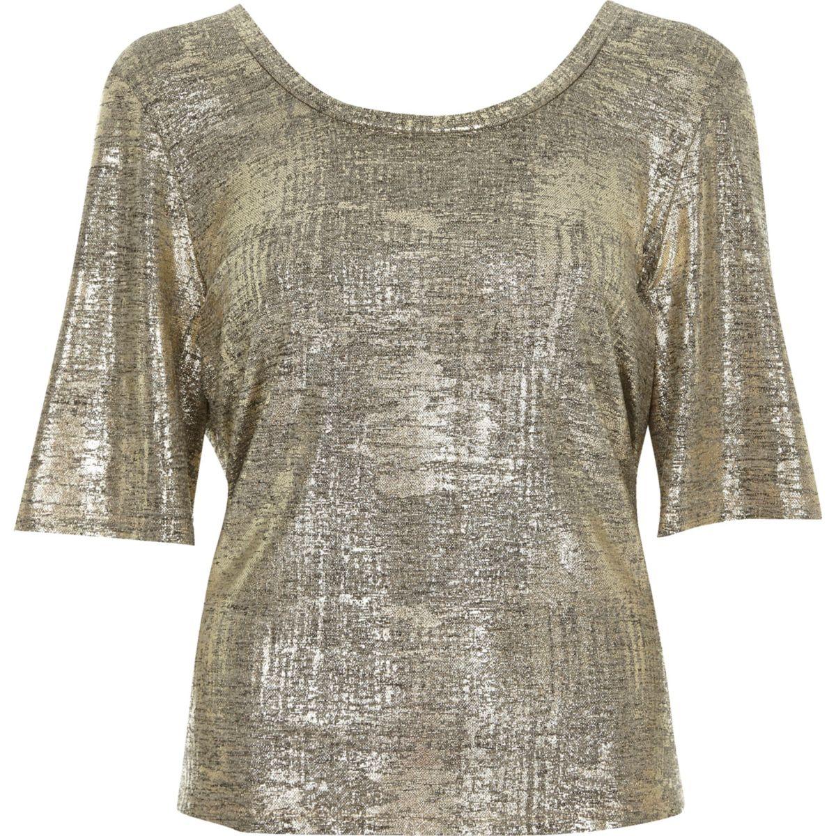T-shirt doré métallisé croisé dans le dos