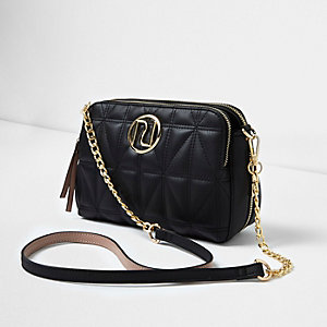 Black quilted cross body chain bag