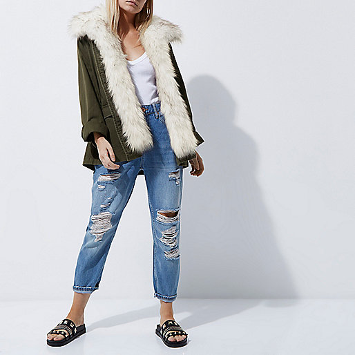 Petite khaki fur trim army jacket