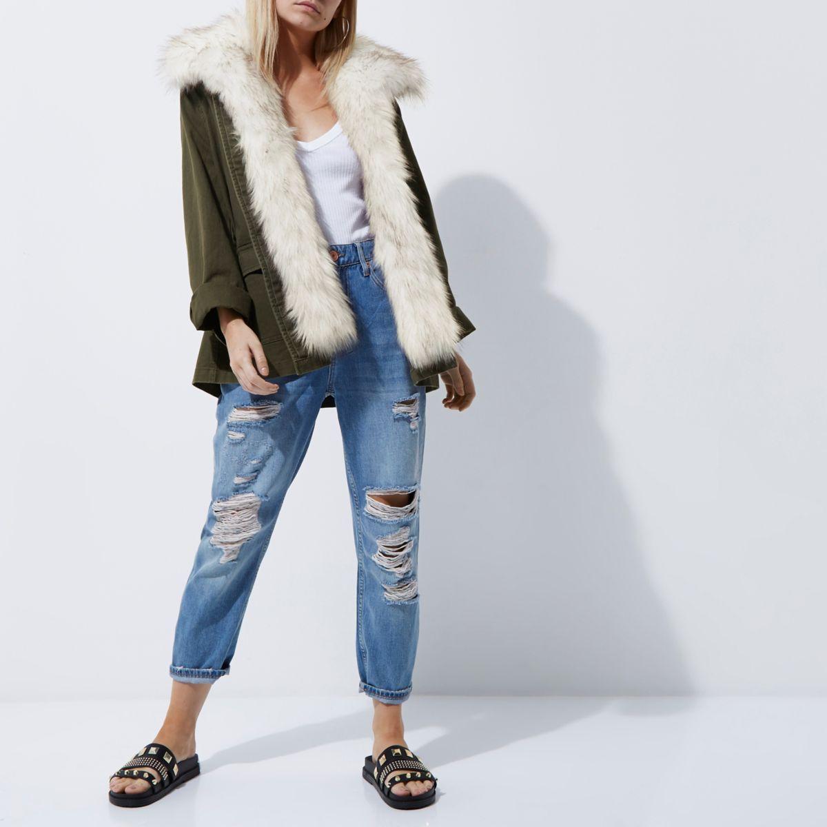Petite khaki faux fur trim army jacket