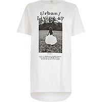 White 'urban living' photo print T-shirt