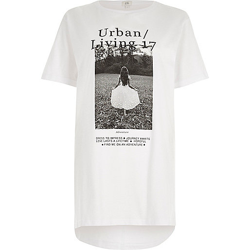 White 'urban living' photo print T-shirt