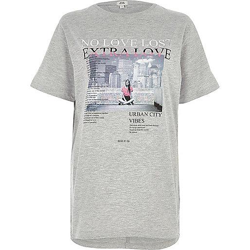 Grey 'no love lost' print boyfriend T-shirt
