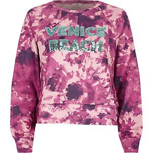 Pull effet tie-dye rose avec inscription «Venice Beach» à sequins