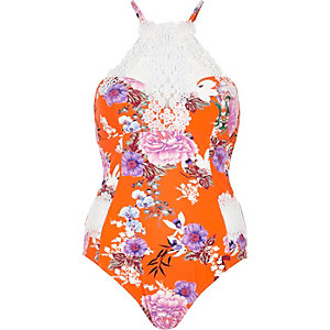 Orange floral print high apex swimsuit