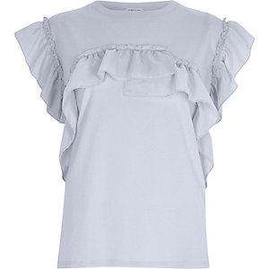 T-shirt bleu clair à volants