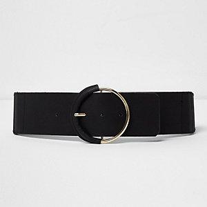 Black round buckle belt