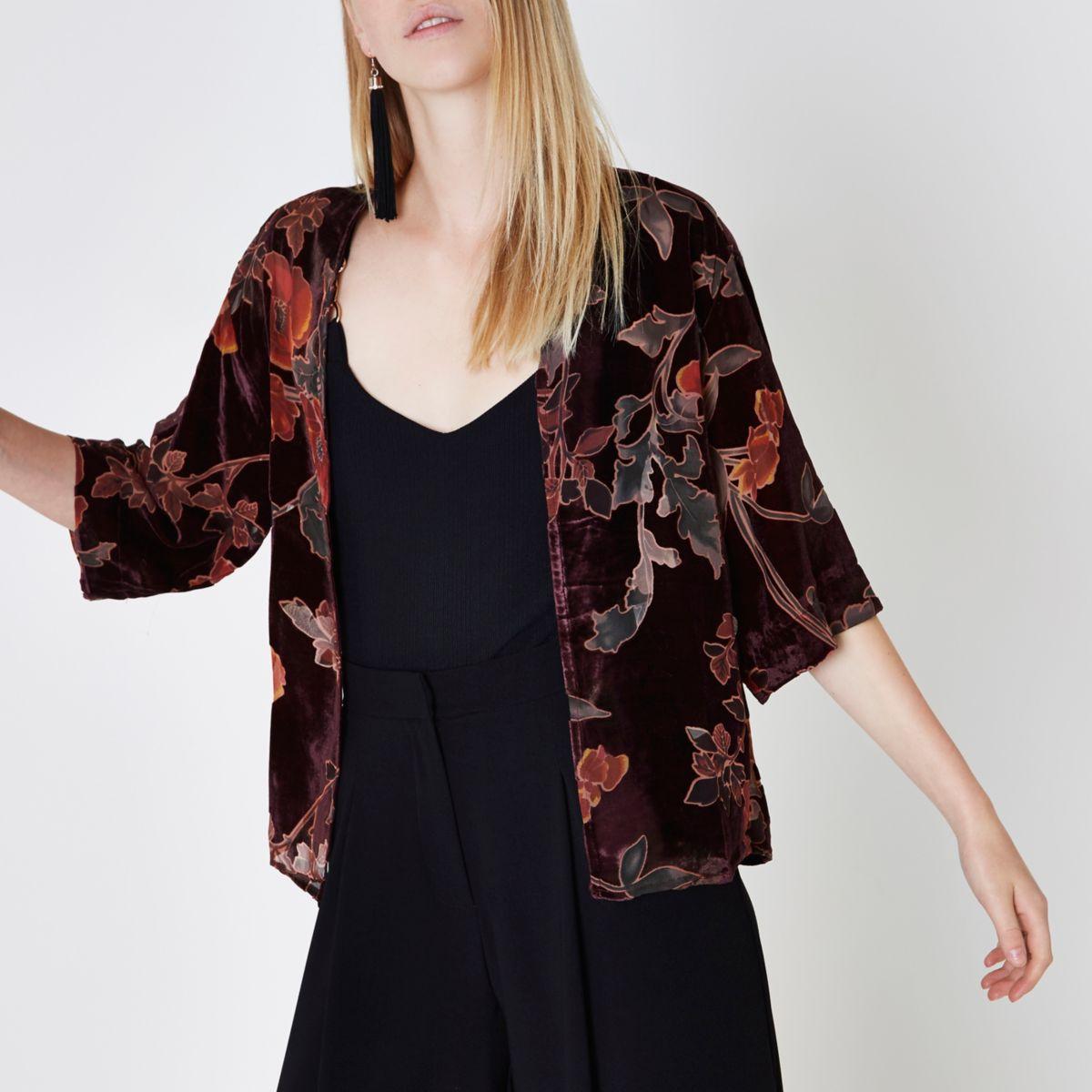 Red floral burnout print velvet kimono
